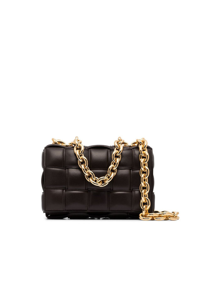 Casette Chain Padded Shoulder Bag in Leather