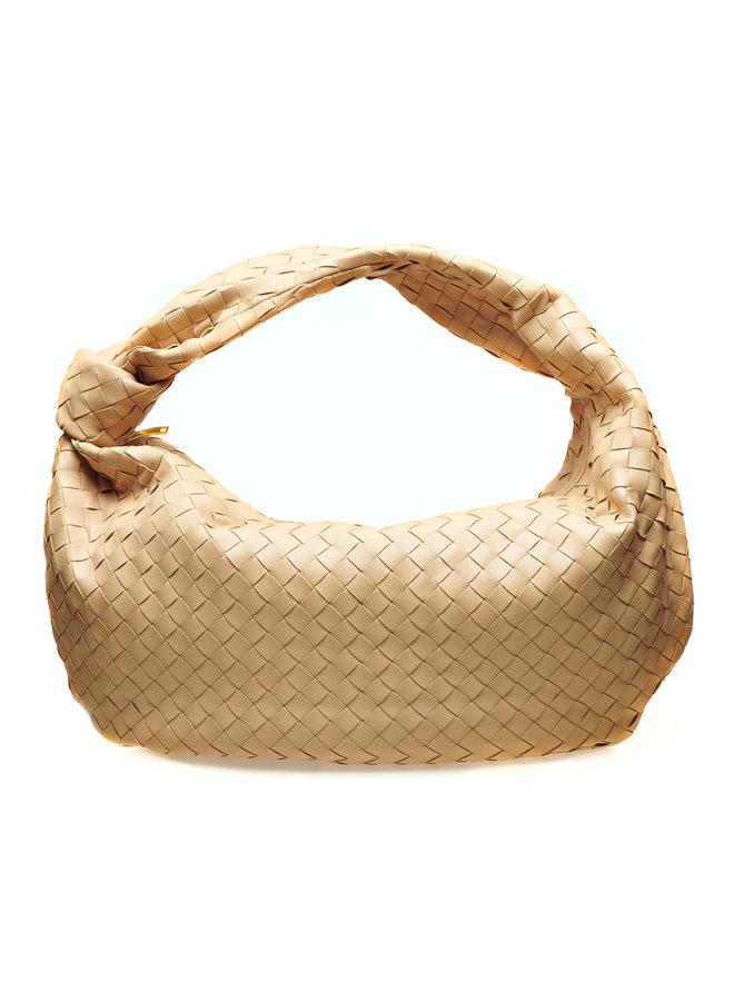 Large Jodie Shoulder Bag in Intrecciato in Almond