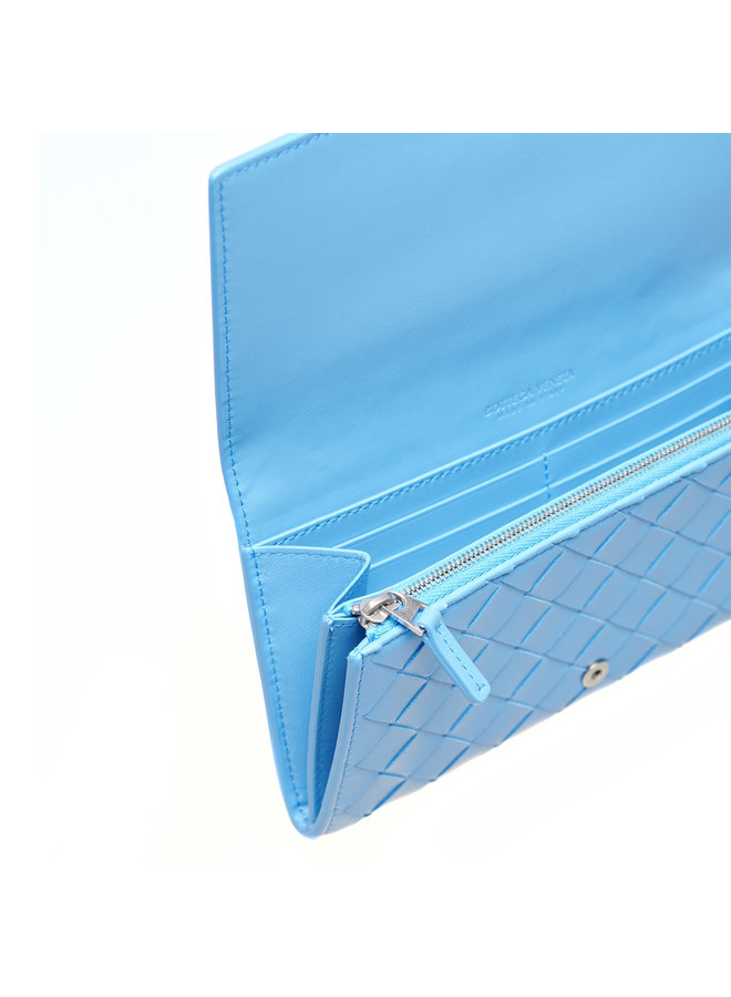 Continental Wallet in Intrecciato in Light Blue
