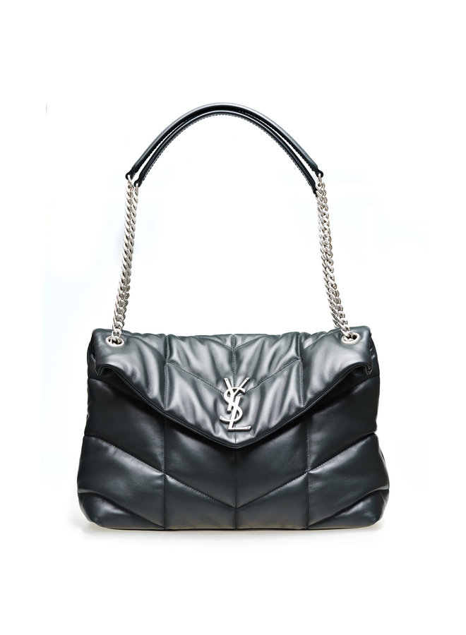Loulou Medium Puffer Shoulder Bag in Leather in Dark Green/Silver