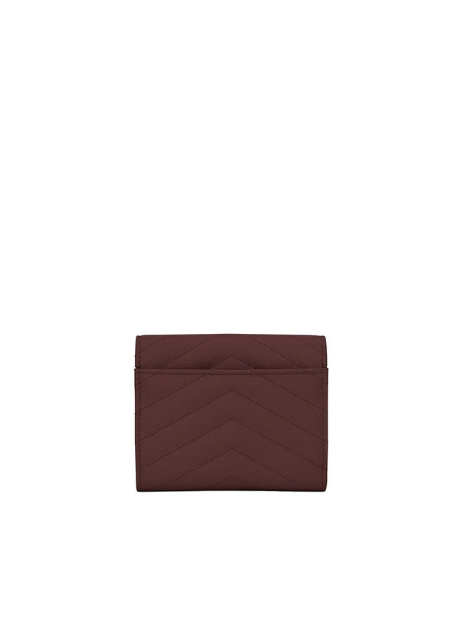 Logo Trifold Wallet in Leather in Burgundy/Gold
