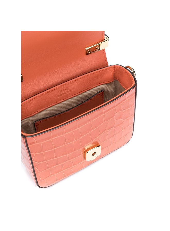 Mini C Bag in Leather in Orange