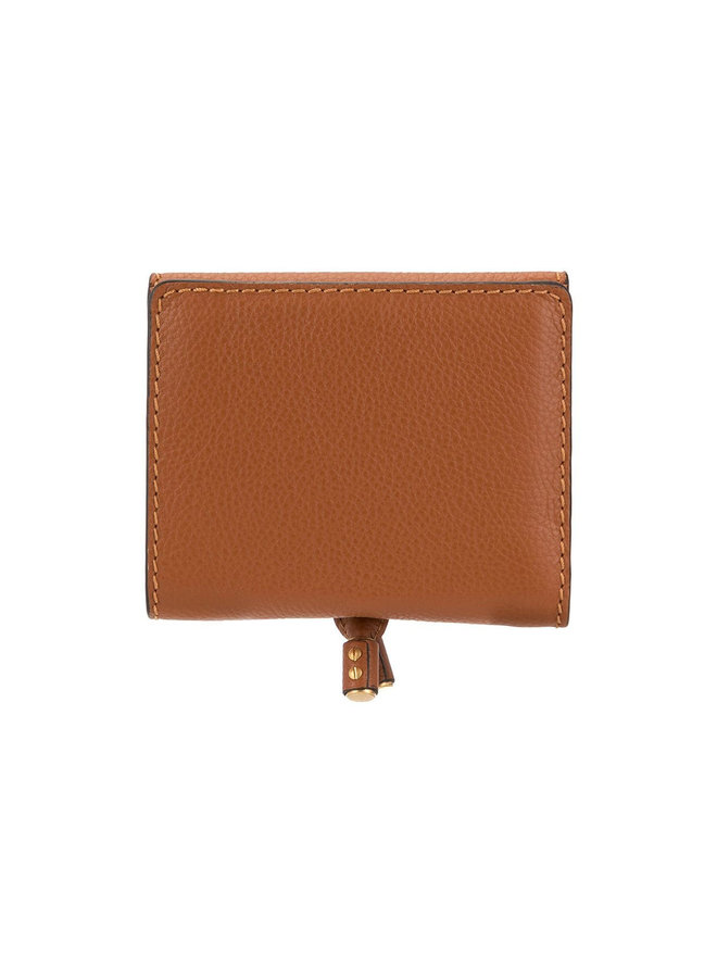 Small Marcie Flap Wallet in Leather in Tan