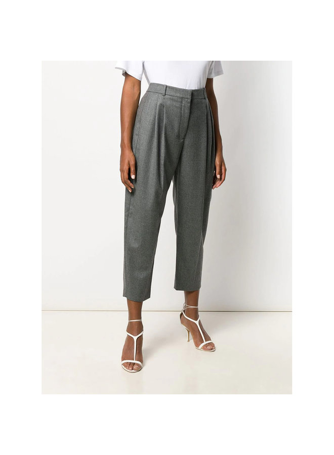 High Waisted Tailored Pants in Wool in Grey Melange