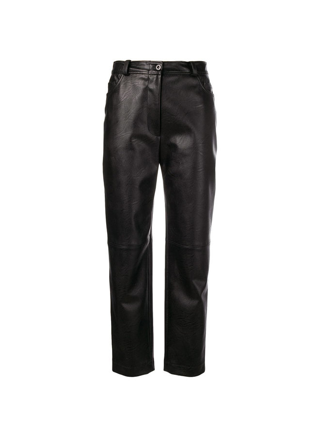 High Waisted Straight Leg Pants in Faux Leather