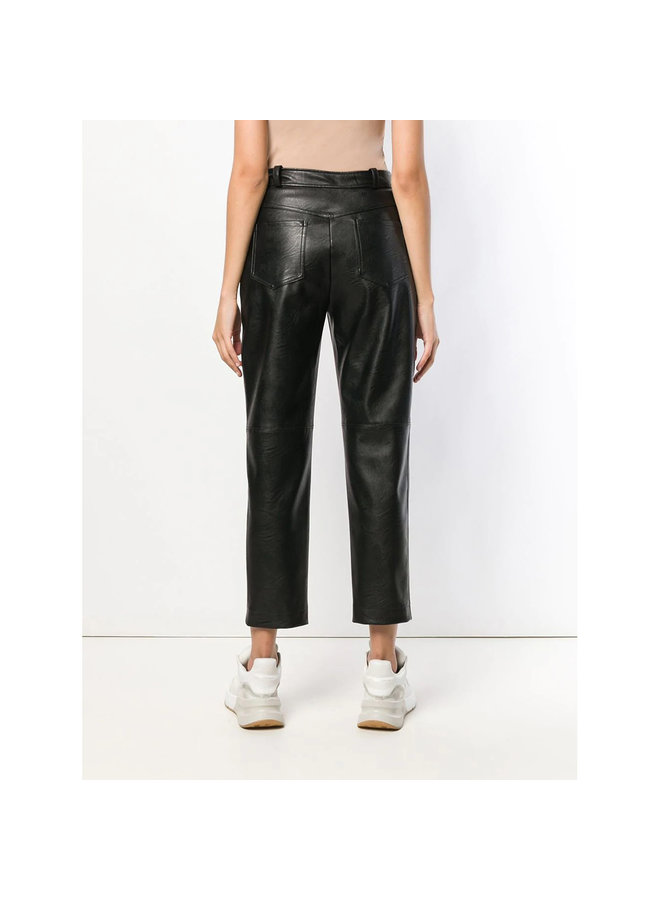 High Waisted Straight Leg Pants in Faux Leather in Black