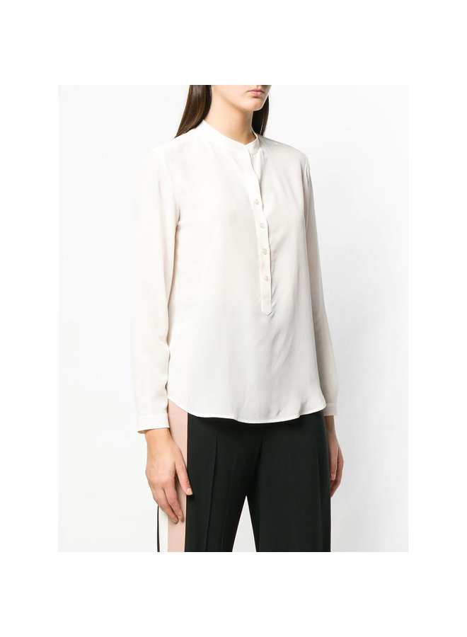Classic Crew Neck Blouse in Silk in Natural