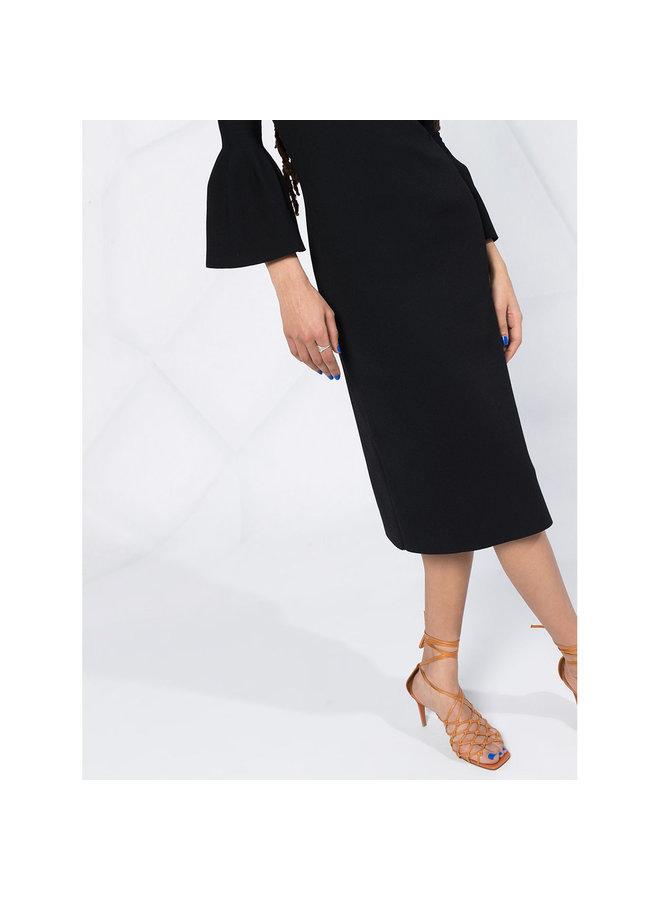 Sweetheart Neckline Midi Dress in Black