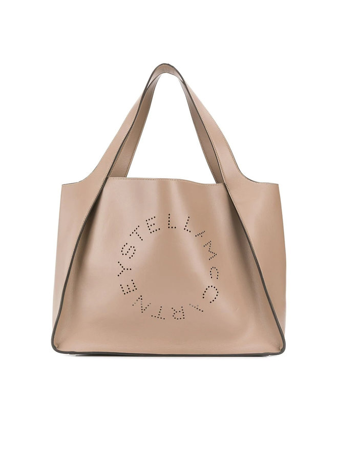 Perforated Logo Shopper Bag in Faux Leather