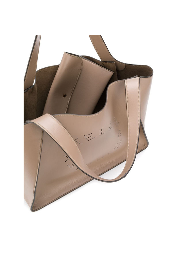 Perforated Logo Shopper Bag in Faux Leather in Moss