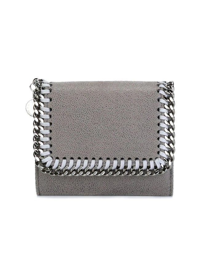 Falabella Small Flap Wallet in Light Grey