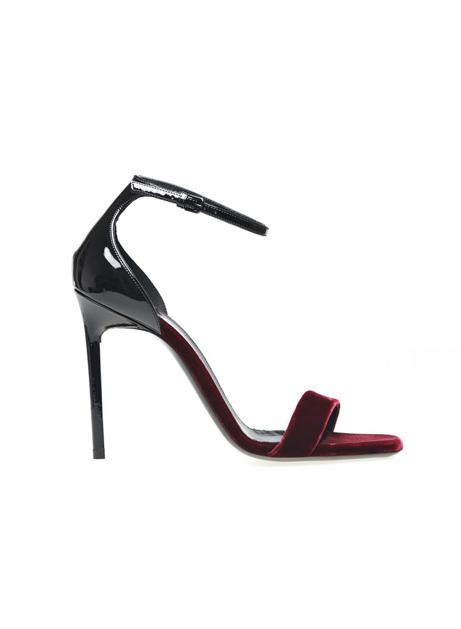 Amber High Heel Sandals in Suede/Patent Leather