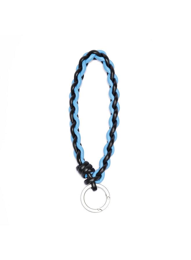 Bi-color Key Chain in Blk/Blu/Silv