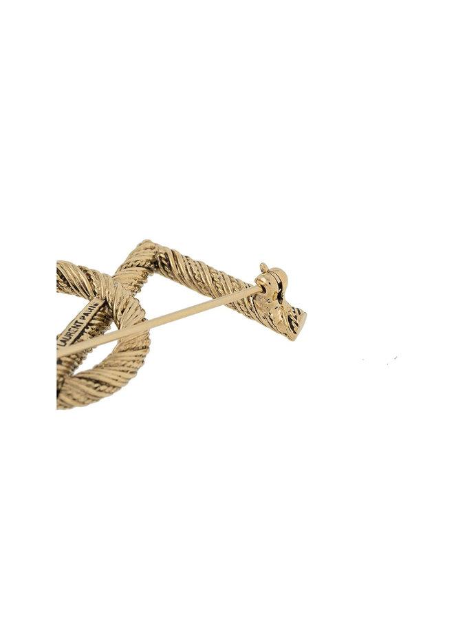 YSL Broach in Brass in Gold