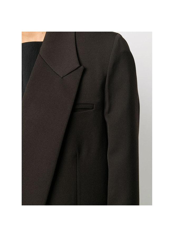 Oversized Wrap Blazer Jacket in Wool in Cocoa