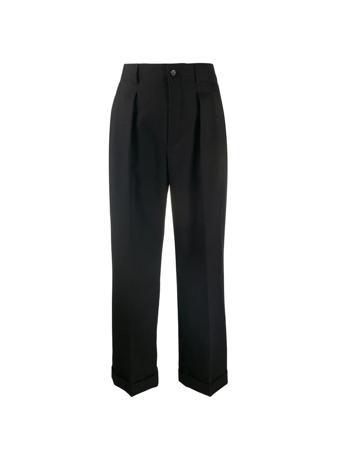 High Waisted Cropped Tailored Pants in Wool