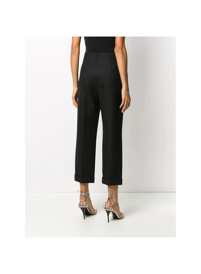 High Waisted Cropped Tailored Pants in Wool in Black