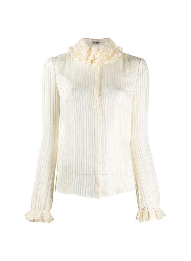 Ruffled High Neck Shirt in Silk