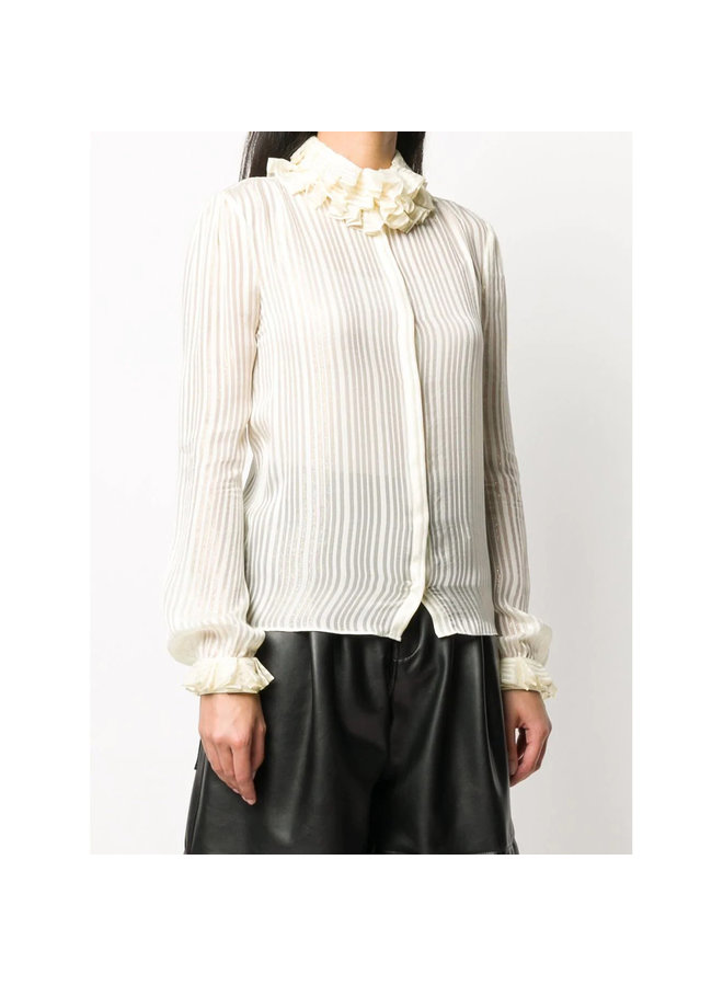 Ruffled High Neck Shirt in Silk in Cream