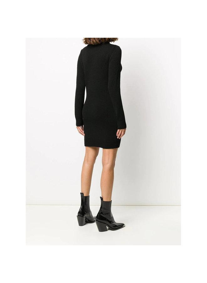 Turtleneck Knitted Jumper Dress in Cashmere in Black