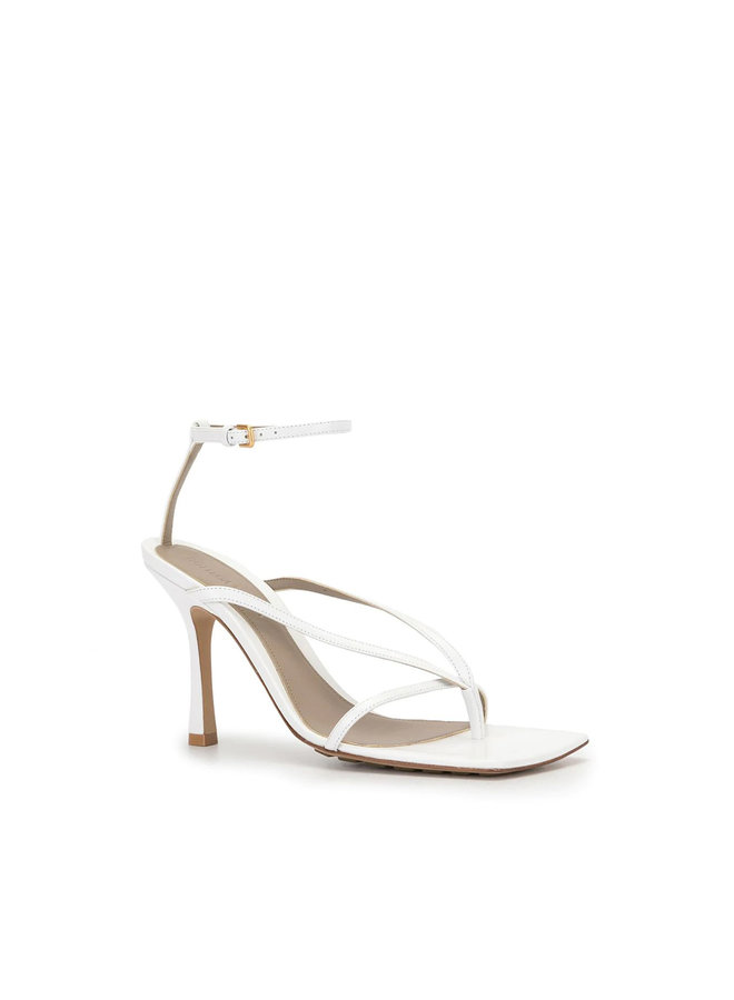 High Heel Sandals in Leather in White
