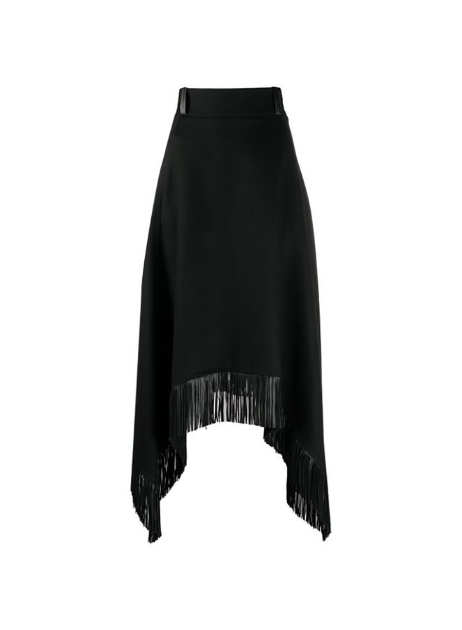 Asymmetric Fringed Skirt in Wool/Cashmere in Black