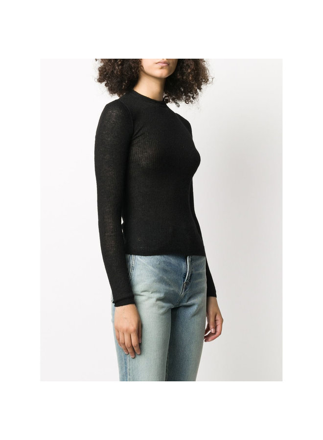 Crew Neck Knitwear Jumper in Wool-Mohair in Black