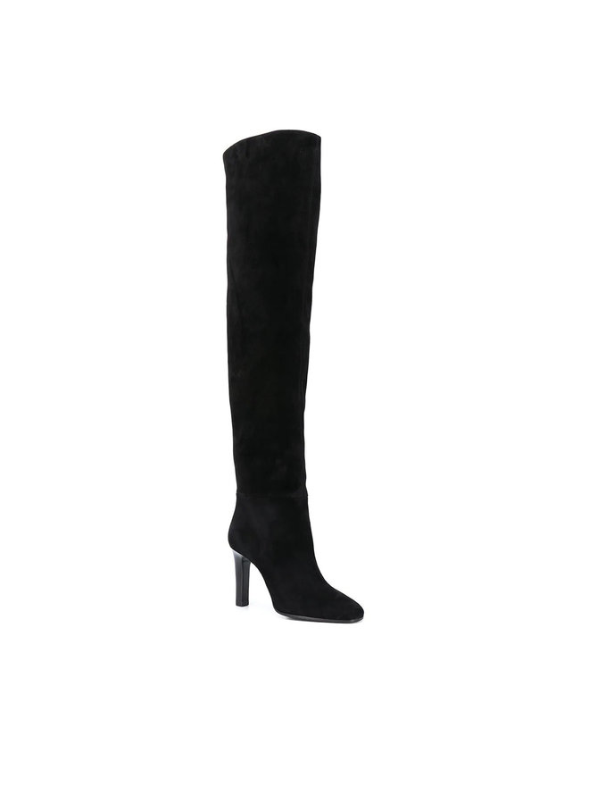 Jane High Heel Boots in Suede in Black