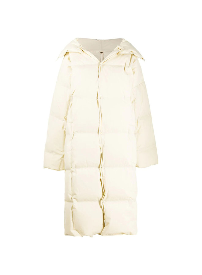 Oversize Padded Coat in Cotton in Off White