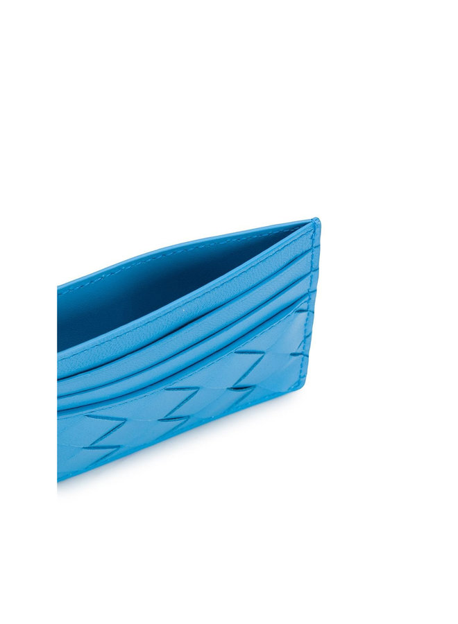 Card Holder in Intrecciato Leather in Blue