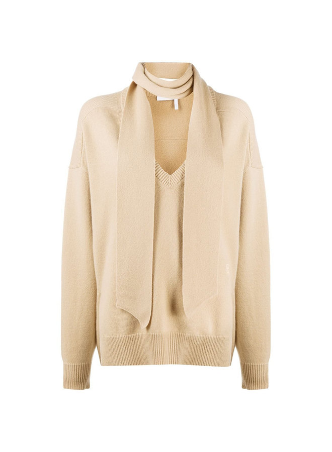 Knitwear Top with Neck-Tie in Cashmere
