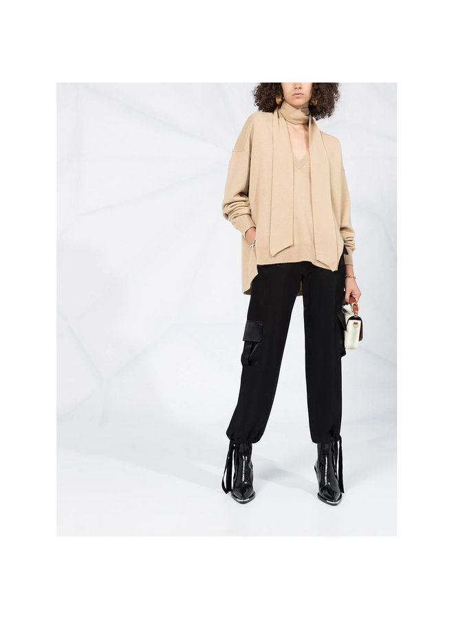 Knitwear Top with Neck-Tie in Cashmere in Dune Brown