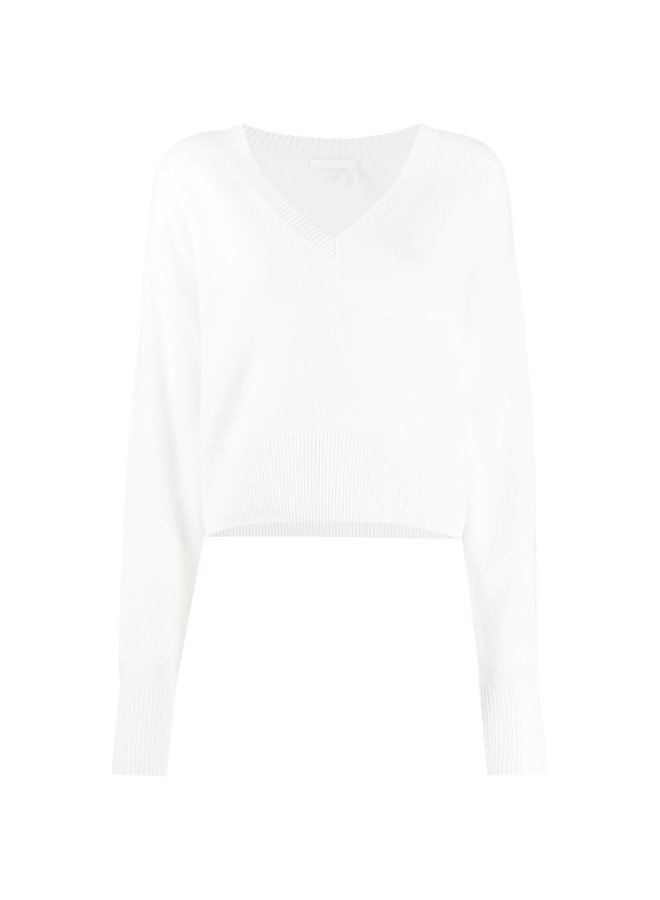 Cropped Knitted V-Neck Top in Cashmere
