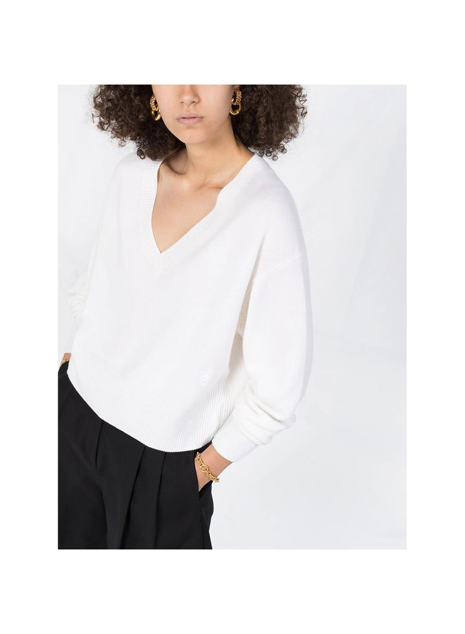 Cropped Knitted V-Neck Top in Cashmere in Off-white