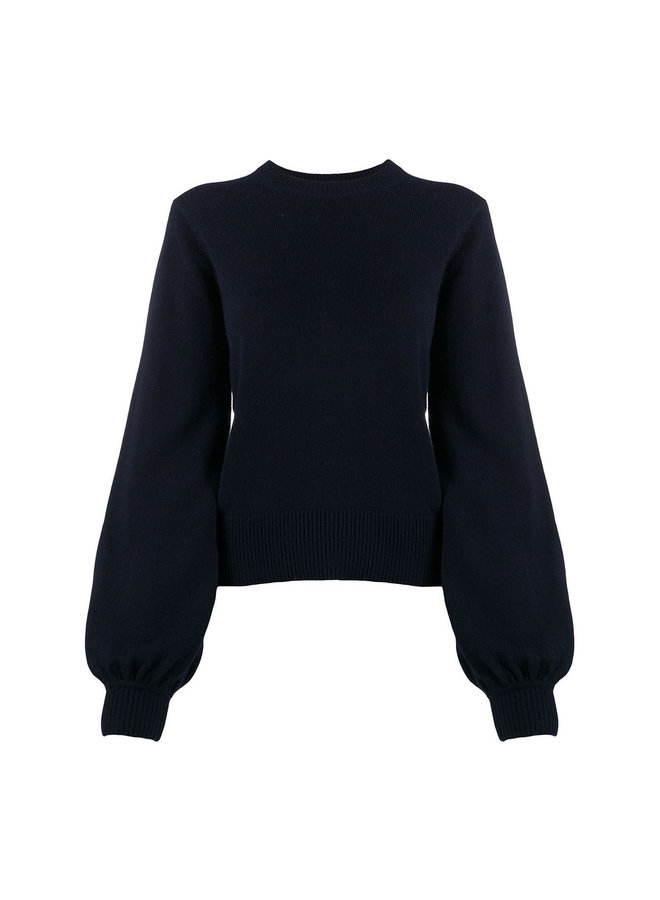 Knitwear Top with Bishop Sleeves in Cashmere
