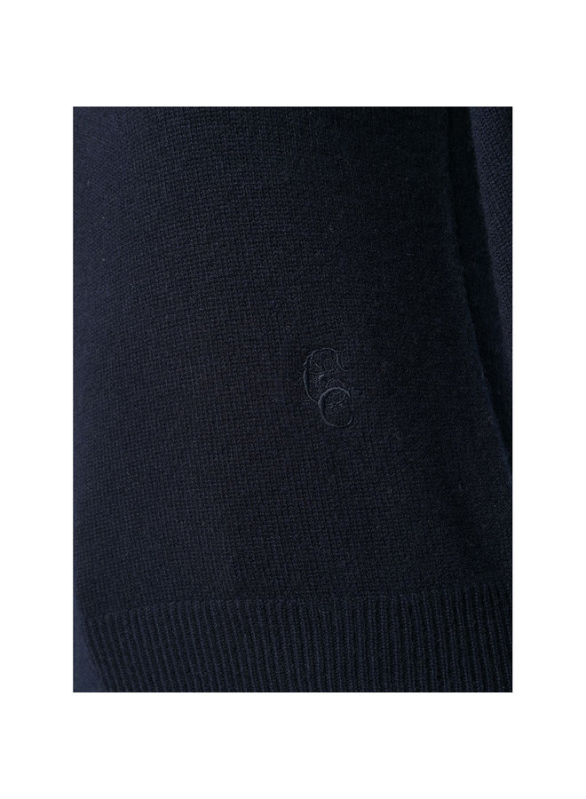Knitwear Top with Bishop Sleeves in Cashmere in Navy