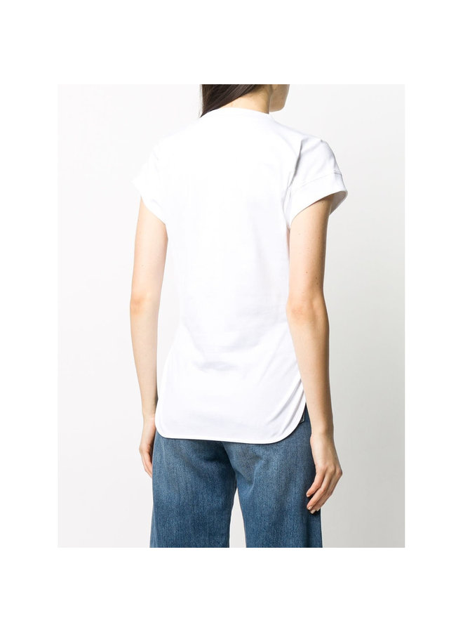 Slogan Print Logo T-shirt in Cotton in White