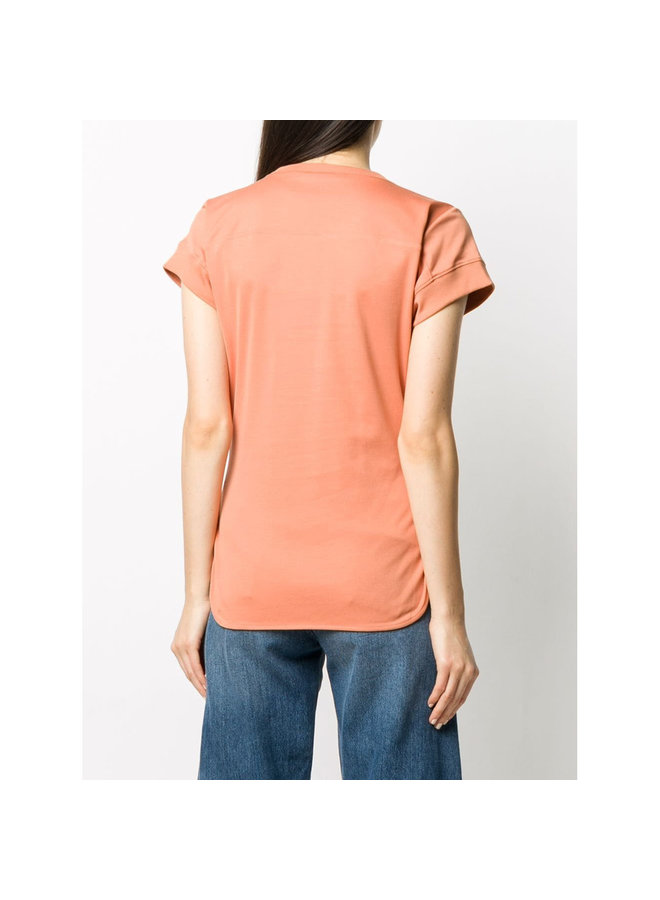 Slogan Print Logo T-shirt in Cotton in Orange