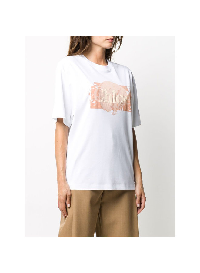 Oversized Logo T-shirt in Cotton in White