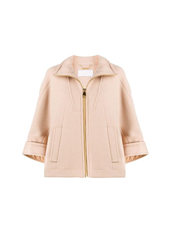 Short Coat with Crop Sleeves in Wool in Pink