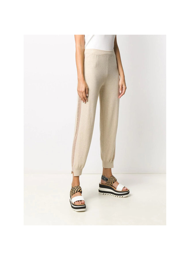 Casual Jogging Pants in Cashmere/Wool in Oat/Beige