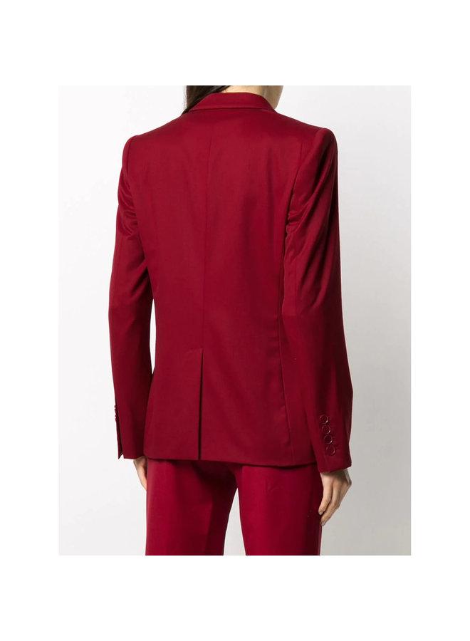 Single Breasted Blazer Jacket in Wool in Bordeaux