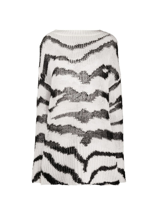 Oversize Jumper in Zebra Pattern in Cotton