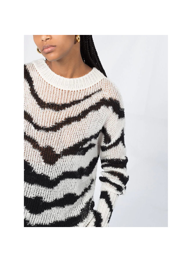 Oversize Jumper in Zebra Pattern in Cotton in Black/White