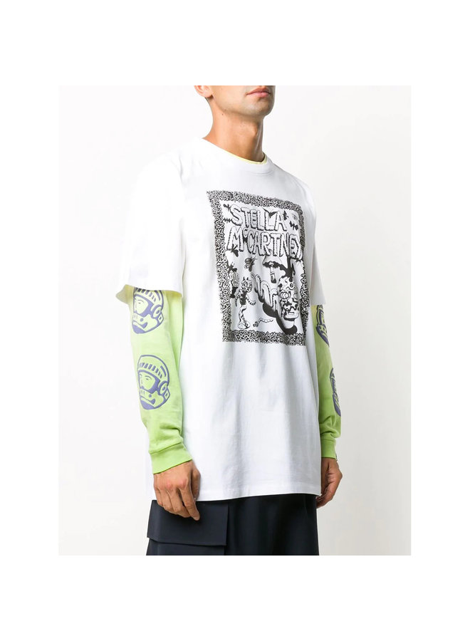 Crew Neck Printed Logo T-shirt in Cotton in White