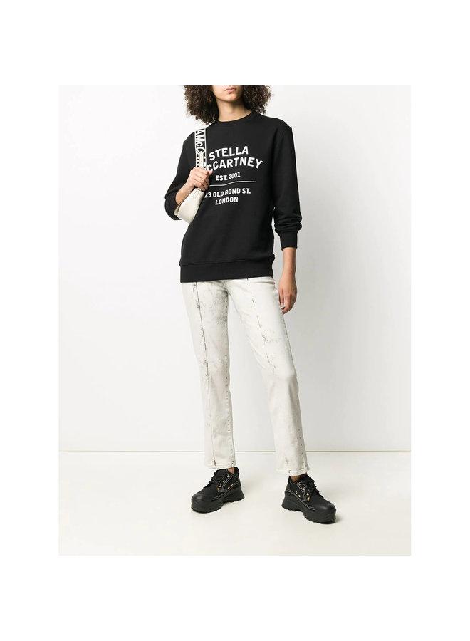 Crew Neck Logo Sweatshirt in Cotton in Black