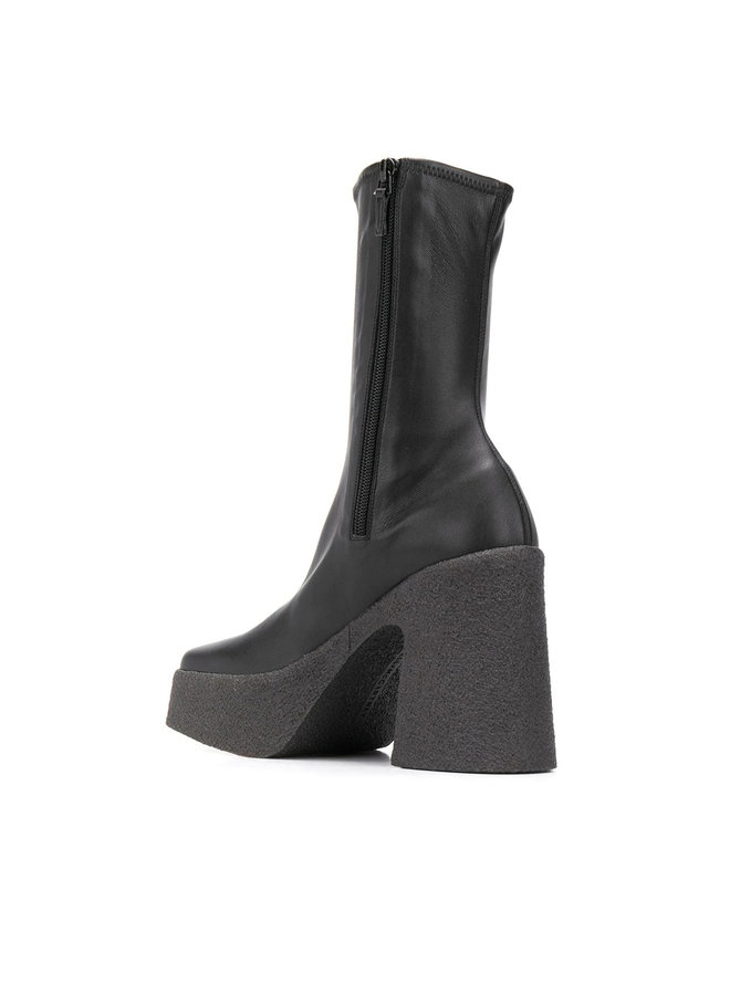 Platform Ankle Boots in Faux Leather in Black