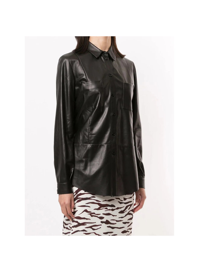 Long Sleeve Shirt in Leather in Black
