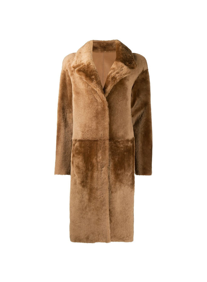 Long Coat in Textured Shearling