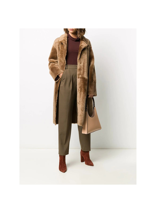 Long Coat in Textured Shearling in Wood